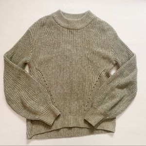 H&M Green Gold Puff Sleeve Sweater Small